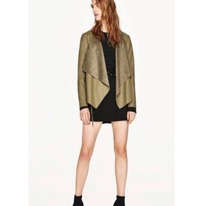 Zara Vegan Leather Jacket Blazer Olive Green